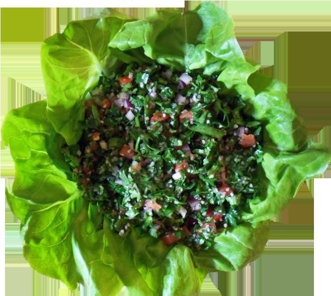 tabbouleh (Lebanese salad) with lettuce
